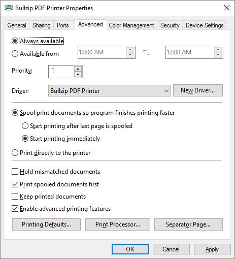 Default Printer Properties