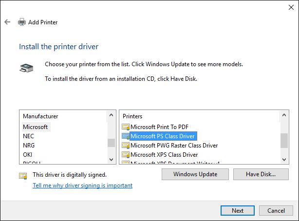 Pdf Postscript Printer Driver