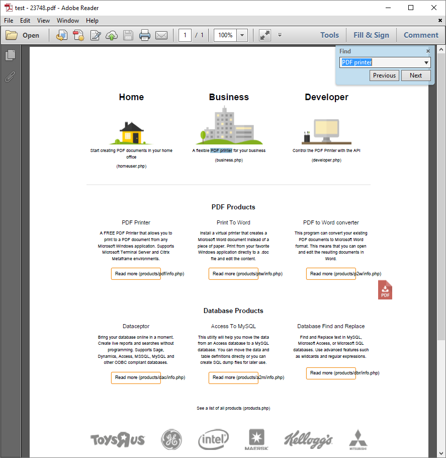 PDF Is Printed As An Image